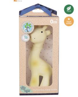 TIKIRI 3-in-1 Sonaglio, Massaggiagengive, Gioco da Bagno, My First Zoo – Giraffa 100% Caucciù Naturale
