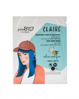 PUROBIO  Maschera viso in cellulosa Claire – RELAX AND FUN